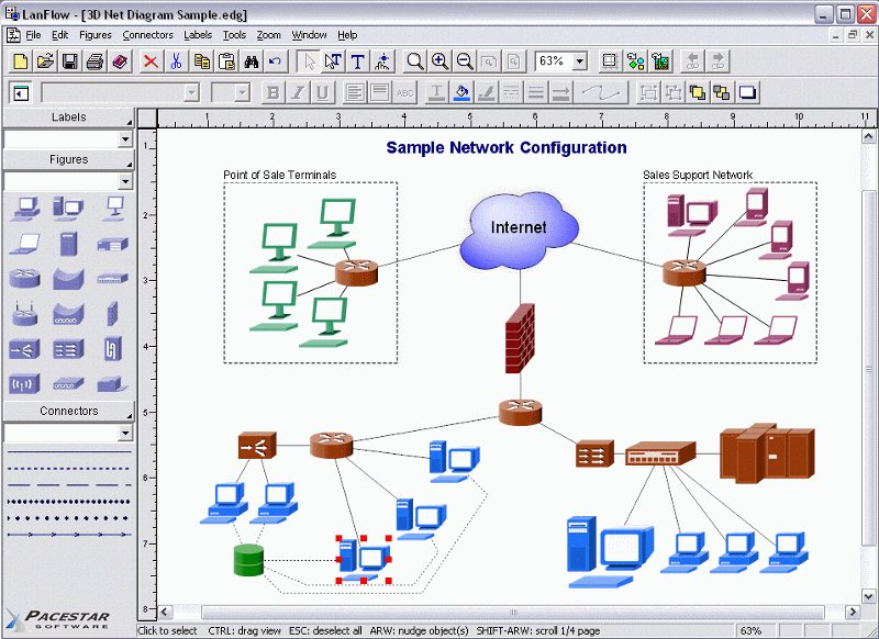 Lan diagram software lanflow lets you create local area network lanflow screen shot ccuart Image collections